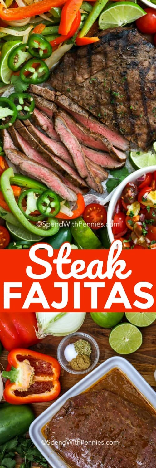 Beef fajitas just got an upgrade, with these easy authentic flank steak fajitas. We love serving these when it's time to bust out the grill, they couldn't be more delicious! #spendwithpennies #fajitas #steakfajitas #fajitasmarinade #easyfajitas #easysteakfajitas #skirtsteakfajitas