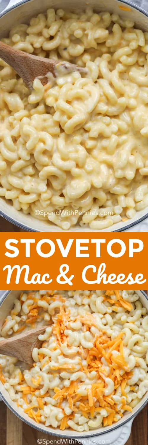 This one pot stovetop mac and cheese is seriously good. Homemade mac and cheese is always better, and making this cheesy comfort food couldn't be easier thanks to the stove top! #spendwithpennies #macandcheese #stovetopmacandcheese #macaroniandcheese #macaroni #cheese #stovetop