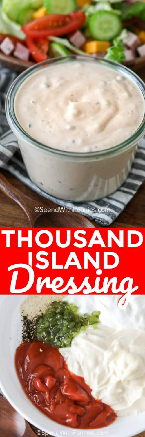 We love making this homemade thousand island dressing recipe for reubens and salads! It's an easy classic dressing recipe that couldn't be more flavorful! #spendwithpennies #thousandislanddressing #dressing #homemadedressing #thousandisland