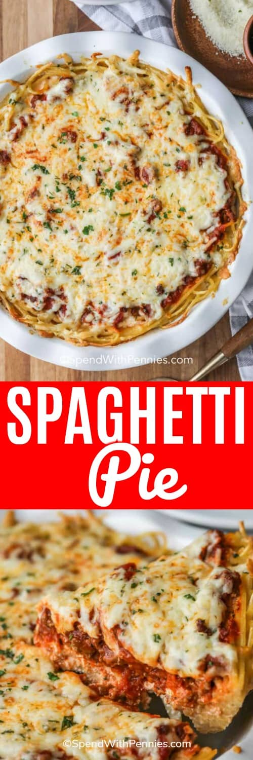 We love making this easy homemade spaghetti pie recipe for potlucks or weeknights. It's made in the oven with meat sauce, ricotta, and other delicious ingredients then baked to perfection! #spendwithpennies #spaghettipie #spaghetti #bakedspaghetti #spaghettipierecipe #italianspaghettipie #italian #pasta
