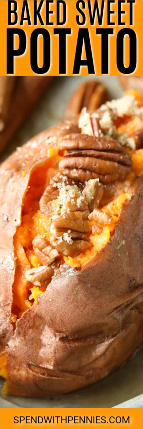 baked sweet potato with pecans with a title