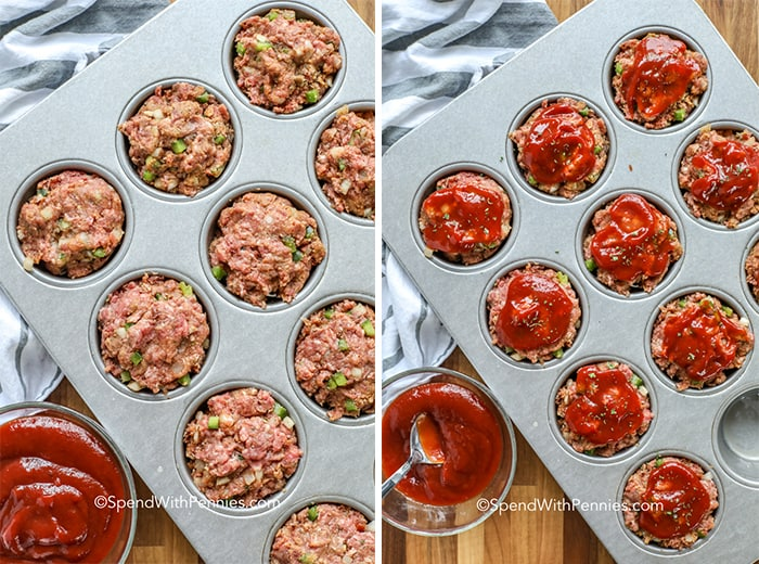 Two images showing meatloaf mixture being pressed into muffin tins and then topped with glaze.