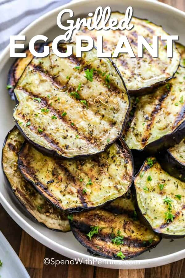 Grilled Eggplant with writing