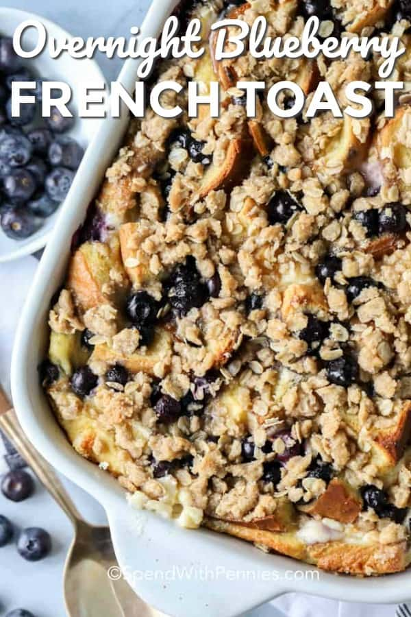 Wake up to the smell of fragrant blueberries baked into this decadent overnight blueberry french toast casserole. You can relax and enjoy your morning coffee while this casserole bakes to perfection. #spendwithpennies #breakfastcasserole #overnightcasserole #frenchtoastcasserole #easycasserole #bakedcasserole #blueberrybake #breakfastbake #makeahead