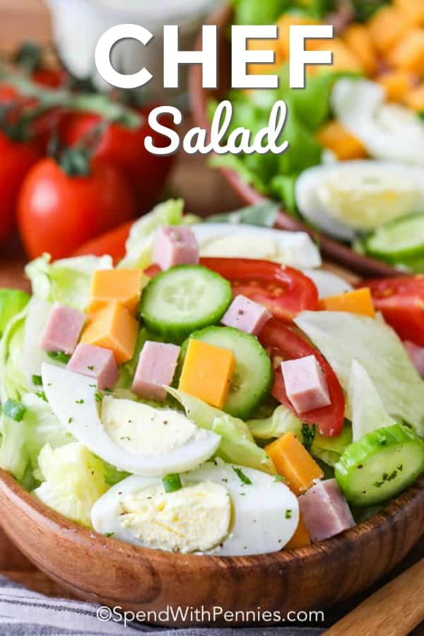 This old fashioned chefs salad is made with meat, cheese and boiled eggs. Making this salad quick to make, hearty to eat and happens to be keto friendly. #spendwithpennies #chefssalad #sidesalad #lunch #ketofriendly