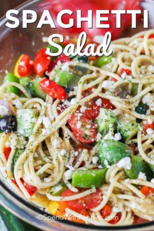 Close up of spaghetti salad