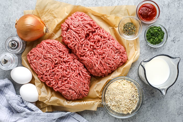 ingredients for making meatloaf on the counter