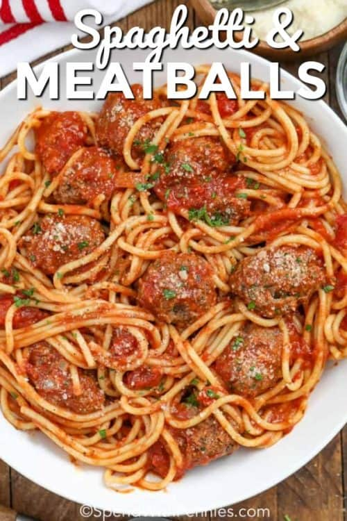Spaghetti and Meatballs served in a large white dish