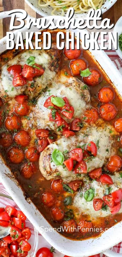 Bruschetta Chicken is best served over pasta (like spaghetti). Juicy balsamic chicken breasts in a garlic, basil, tomato base is a delicious easy meal! #spendwithpennies #bruschetta #bruschettachicken #chickenrecipe #pastarecipe #Italianrecipe
