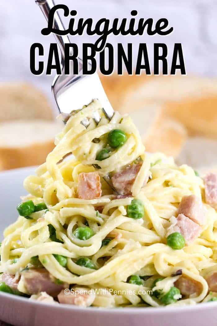 This is an easy version of a carbonara made with ham, peas and linguine. This easy recipe is one my kids have always loved! #spendwithpennies #carbonara #pastarecipe #familyrecipe