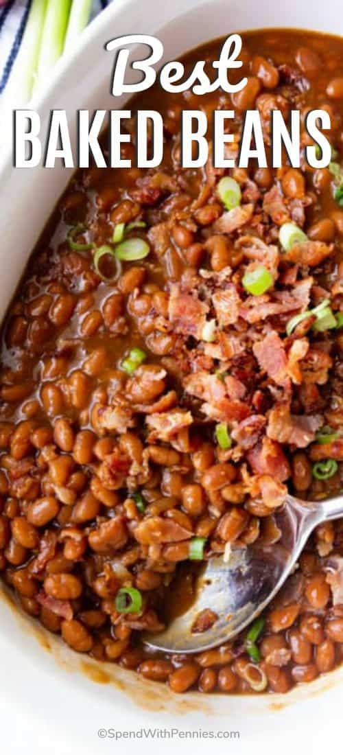 Baked Beans in a dish with writing