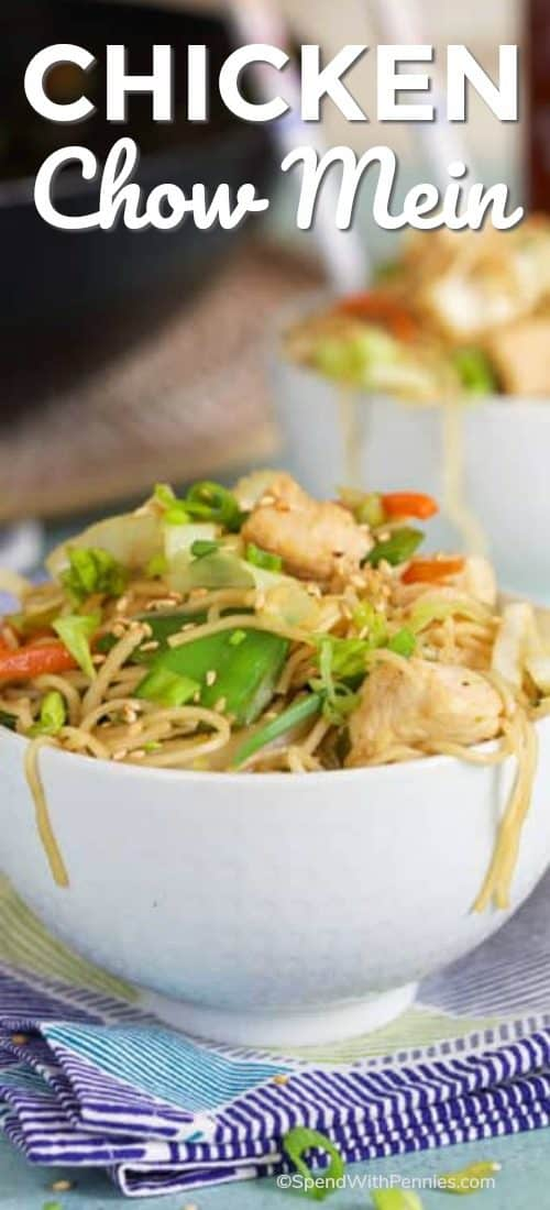 Chicken Chow Mein served in a white bowl
