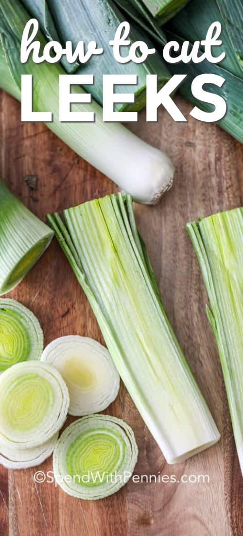Learning How to Cut Leeks is easy! This shows leeks cut lengthwise and crosswise on a wooden cutting board