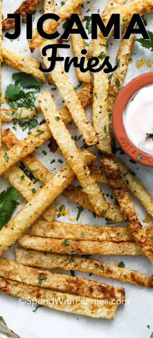 Jicama Fries on a sheet pan with a title