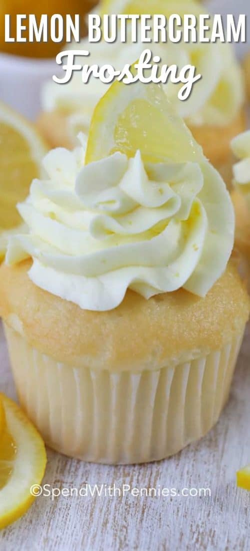 A cupcake frosted with Lemon Buttercream Frosting and garnished with a small lemon wedge