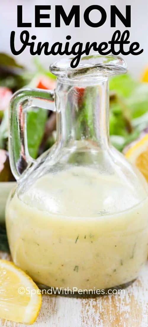 Lemon vinaigrette in a clear serving bottle