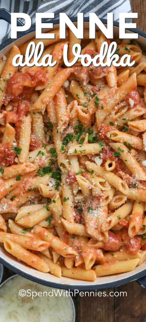 Penne alla Vodka showing chunks of tomato, penne noodles, parmesan and parsley in a large pot