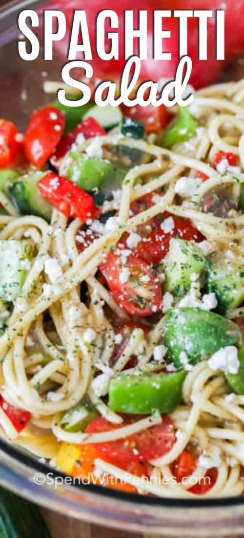 spaghetti salad with writing