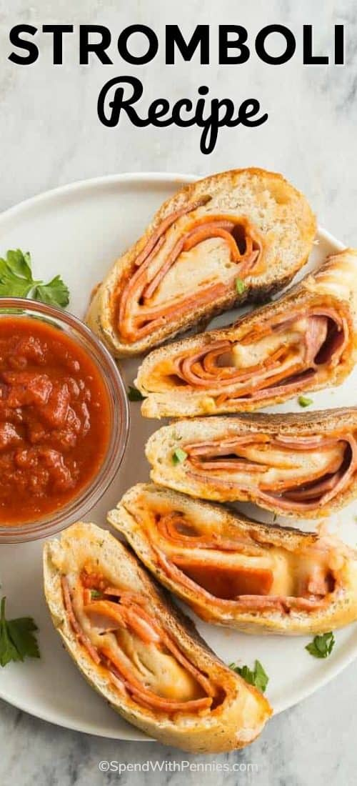 Stromboli's on a plate with sauce and a title
