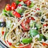Spaghetti salad in a clear Bowl