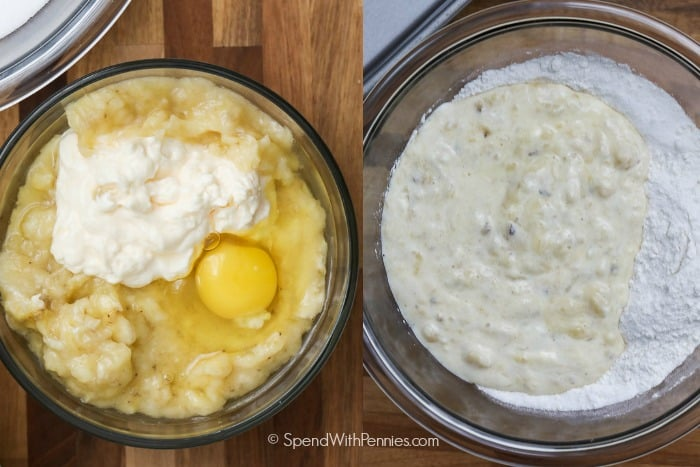 Mashed banana, mayonnaise and egg in a bowl and a second photo of the mixture added to a flour mixture