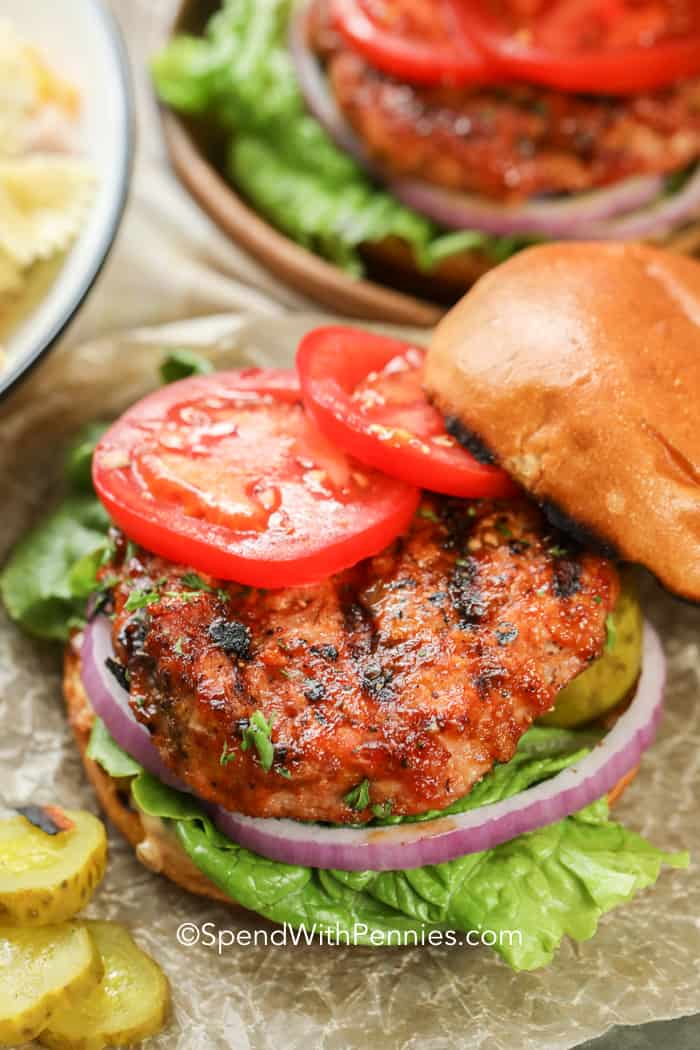 Turkey Burgers on buns with tomatoes, onions and lettuce