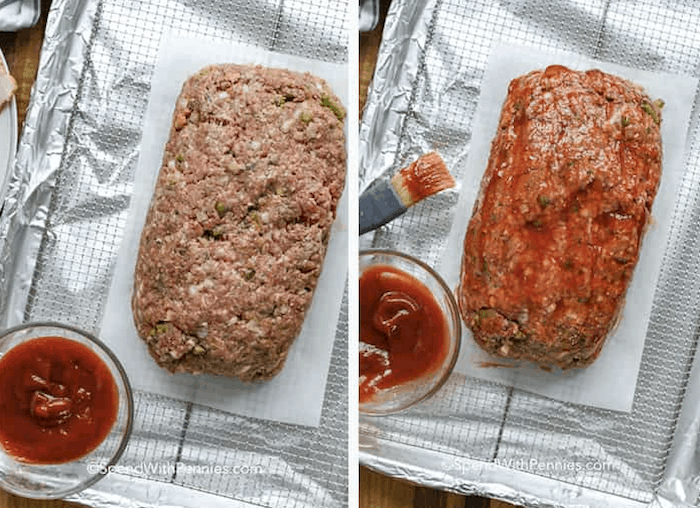 Steps for making a bacon wrapped meatloaf including shaping the loaf on a wire rack and brushing with sauce