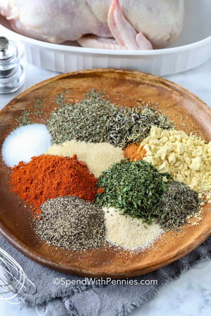 Chicken seasoning ingredients on a plate.