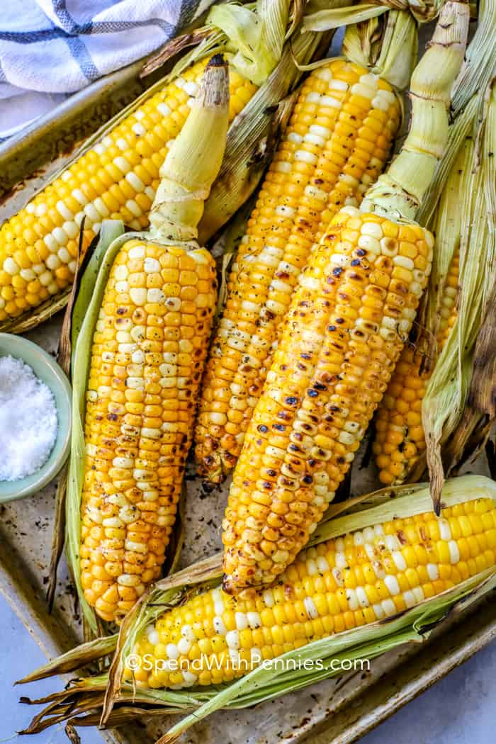 A pan full of grilled corn on the cob with the husks pulled back.