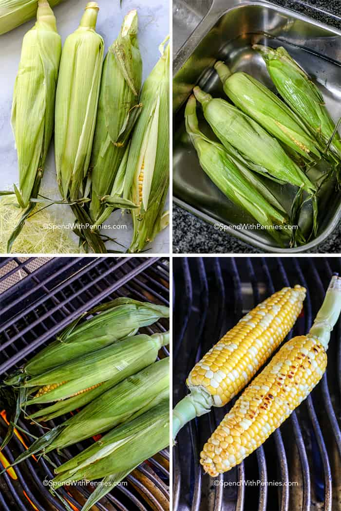 Four images showing the steps of soaking and grilling corn on the cob.