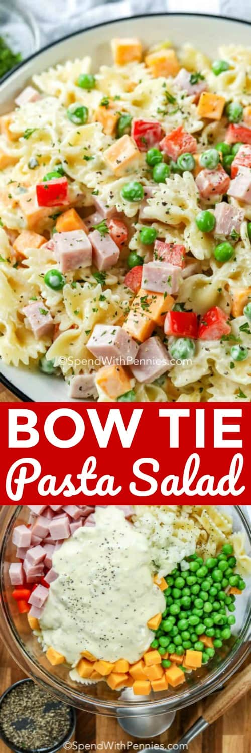 This easy bow tie pasta salad is a family favorite! Made with bow tie pasta, peas, ham and cheese, topped with a creamy homemade mayo dressing. It's the perfect potluck, or barbecue dish and a super tasty lunch! #spendwithpennies #bowtiepastasalad #pastasalad #barbecue #sidedish