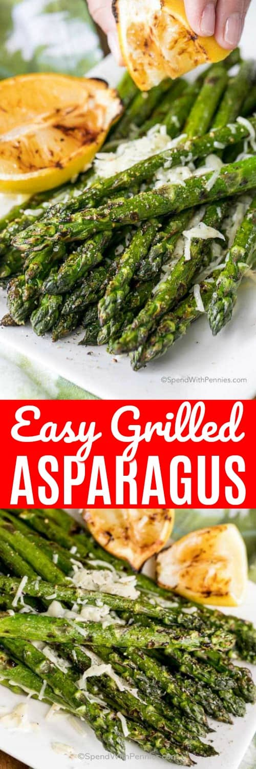 Grilled asparagus with grilled lemon shown with a title