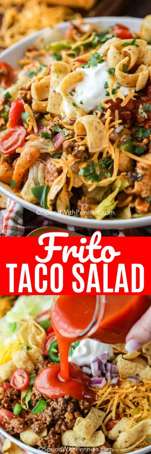 Frito Taco Salad being dressed and topped with corn chips and tomatoes shown with a title