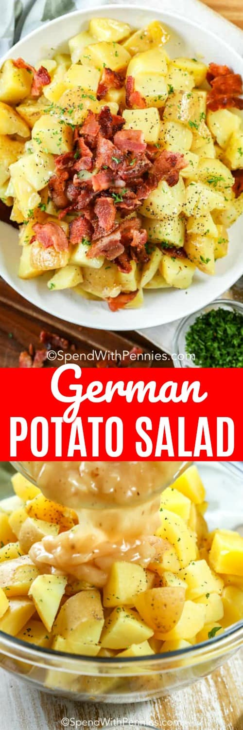 This German potato salad recipe can be served hot, warm, or cold! With cubed potatoes tossed in a tangy dressing and topped with bacon, it is perfect to feed a crowd! Be sure to make lots for your next picnic or barbecue! #spendwithpennies #germanpotatosalad #warmpotatosalad #sidedish #lunch