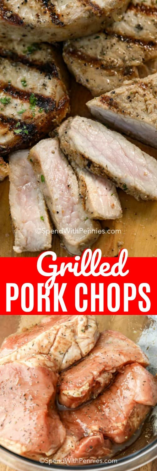 Grilled Pork Chops sliced and marinating shown with a title