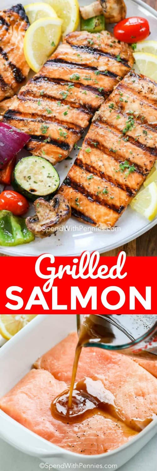 Grilled salmon on a plate and with dressing being poured on in a casserole dish with a title