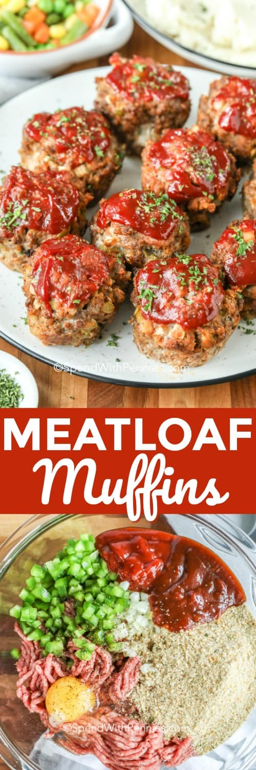 Mini meatloaf muffins are a quick and easy alternative to a classic meatloaf! Using muffin tins, ground beef, chicken or turkey and a brown sugar glaze you can create the best make-ahead meal! Perfect as a snack, lunch or quick dinner with mashed potatoes, this recipe is always a hit with the family. And baking in half the time of a normal meatloaf, it will be a hit with the chef as well! #spendwithpennies #meatloafmuffins #meatloafrecipe #minimeatloaf #dinner #snack #freezermeal