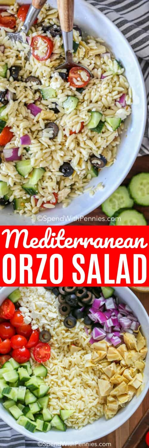 Top image - prepared Mediterranean Orzo salad. Bottom image - Mediterranean Orzo Salad ingredients