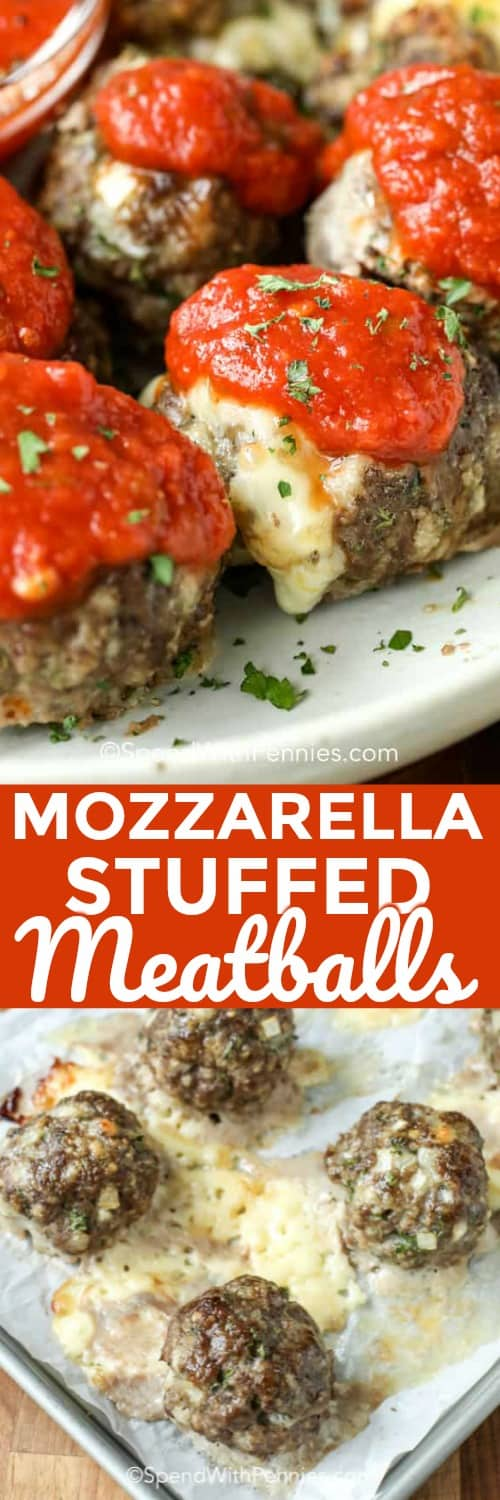 This mozzarella stuffed meatballs recipe is one of the best! It packs so much flavor into every bite. A ground turkey or beef mixture is wrapped around a cube of mozzarella cheese and baked until ooey-gooey! Then simmered in a homemade tomato sauce before being served over a bed of your favorite pasta.  #spendwithpennies #mozzarellastuffedmeatballs #homemadetomatosauce #pasta #Italian #appetizer