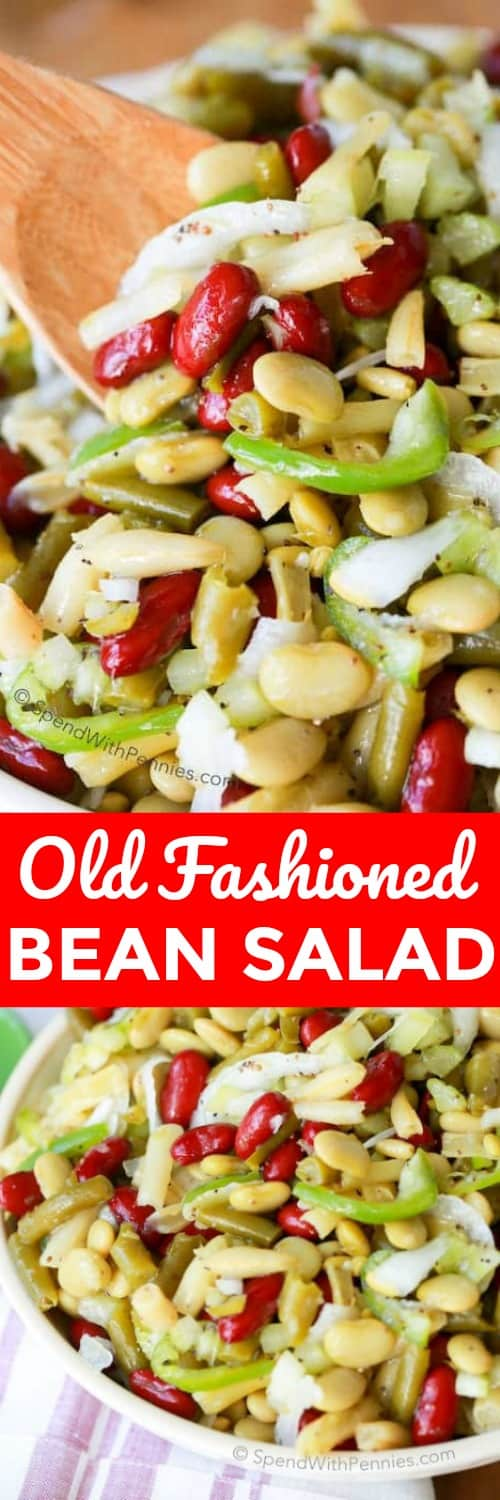 This Old Fashioned Bean Salad has been a family staple for years. 4 kinds of beans and a hint of white onion all dressed in a sweet tangy vinaigrette dressing. This is the perfect make ahead side salad for any get together or BBQ! #spendwithpennies #oldfashionedbeansalad #sidedish #salad #barbecue