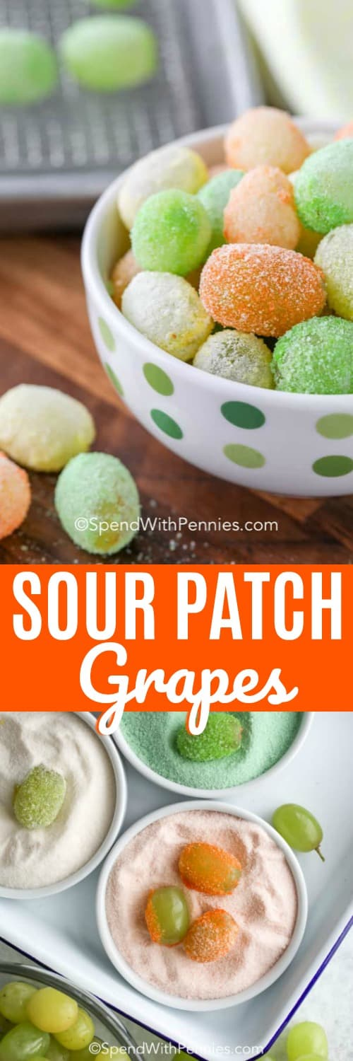 Sour Patch Grapes in a polka dot bowl and being made shown with a title