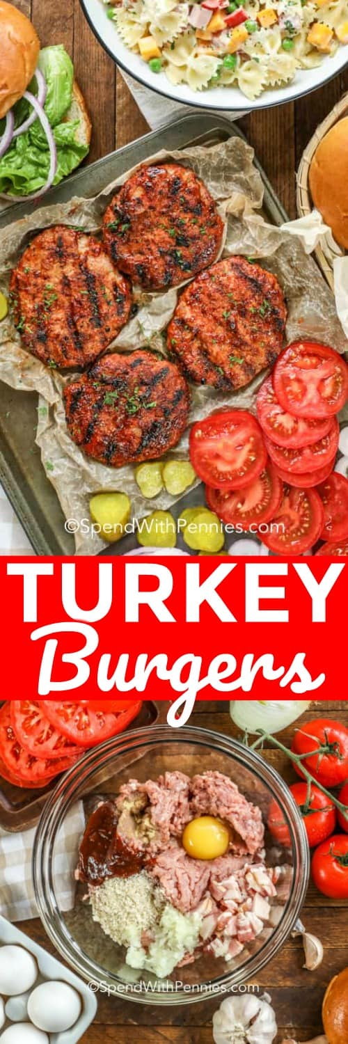 This is the best turkey burger recipe! With ground turkey, bacon and an easy BBQ sauce, it is a quick and simple recipe to put together. You can even make ahead and freeze these turkey patties to have an easy weeknight dinner on hand! #spendwithpennies #turkeyburgers #burgers #maincourse #grilling #barbecueing