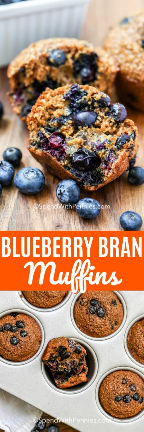 These healthy blueberry bran muffins are the perfect grab and go snack or easy breakfast on busy mornings! Made with blueberries, and wheat bran they are full of antioxidants and fiber making them a healthy dessert option too! #spendwithpennies #blueberrybranmuffins #branmuffinrecipe #healthy #snack