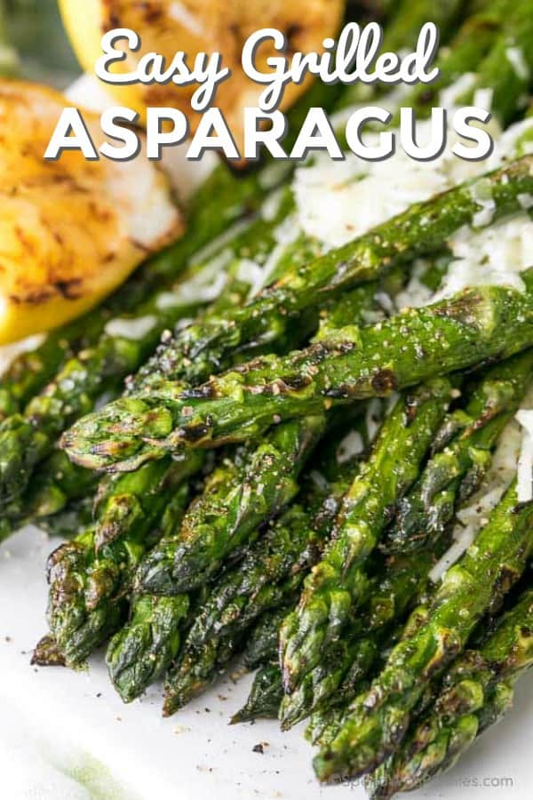 Grilled asparagus with parmesan shown with a title