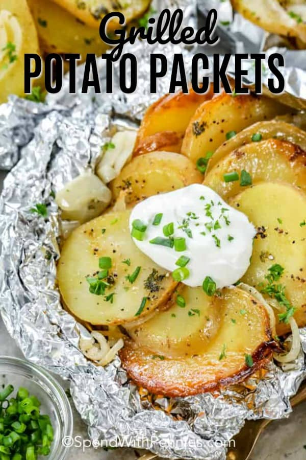 Make these potato packets on the grill, in the oven or over a campfire! With potatoes, onions and butter as the base you can customize this dish for any meal! Add cheese, or chicken for a full meal. #spendwithpennies #grilledpotatopackets #potatofoilpackets #grillingrecipes #campingrecipes #hobodinners