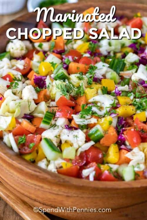 Chopped salad in a large wooden bowl