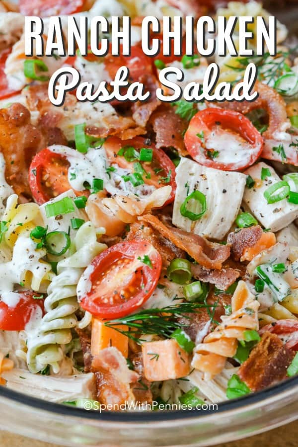 Serve this ranch chicken pasta salad as a main dish when feeding a crowd! Leftover rotisserie chicken, rotini, and a creamy homemade ranch dressing made with mayo and sour cream make the perfect dish. #spendwithpennies #ranchchickenpastasalad #pastasaladrecipe #sidedish #leftoverchicken