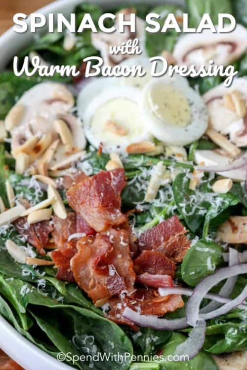 Spinach Salad shown in a white bowl with loads of bacon, sliced egg, red onion and of course spinach.
