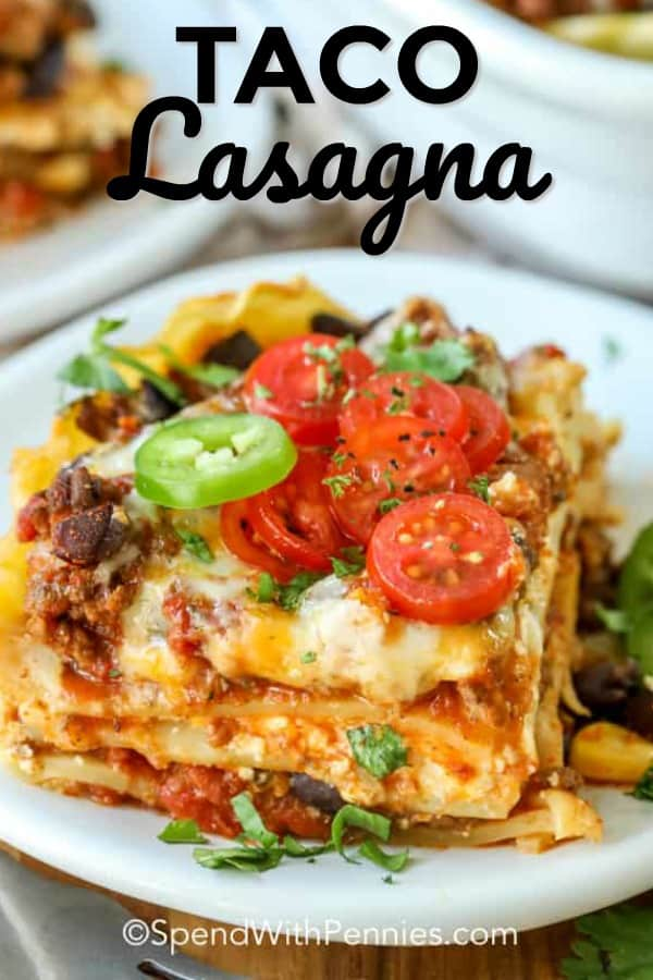 Taco lasagna bake is a tasty oven-baked casserole dish. Using lasagna noodles, black beans, corn and taco seasoning you can prep and bake this dish ahead of time. Perfect for a quick weeknight meal or to take to a potluck! #spendwithpennies #tacolasagna #maindish #Mexican #casserole
