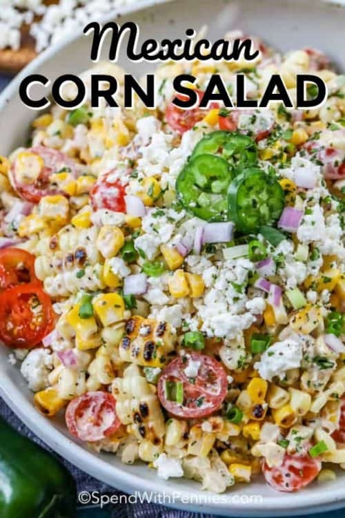 Mexican Corn Salad shown with a title